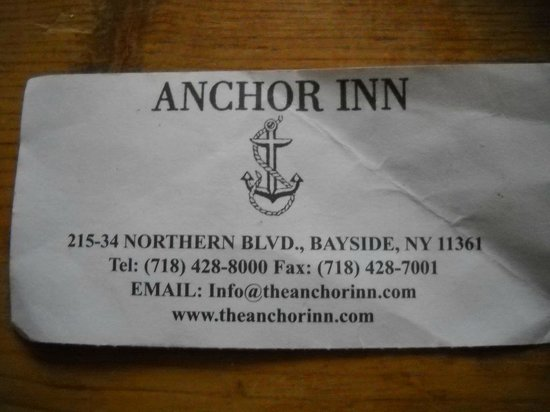The Anchor Inn: Proof of the 'right Anchor Inn' Bayside
