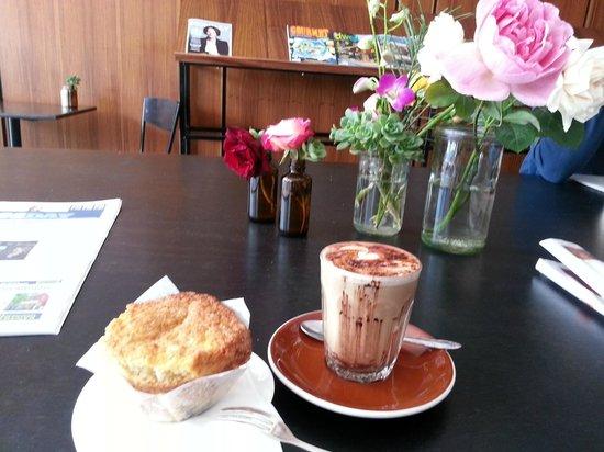 Amelia Espresso: home baked muffin + mocha