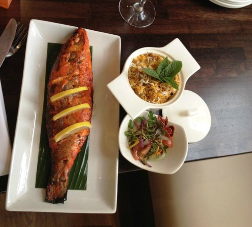 Guglee West Hampstead: loved the sea bass , salad and the rice
