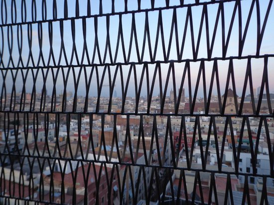 Barcelo Raval: hotel is coated into steal net -view from the room