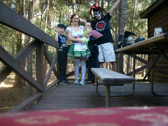 The Campsites at Disney's Fort Wilderness Resort: On our deck getting ready for Mickey's Not so Scary Halloween Party