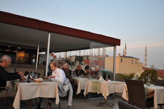Terrace, Daphne Hotel, Sultanahmet, Istanbul, May 2012