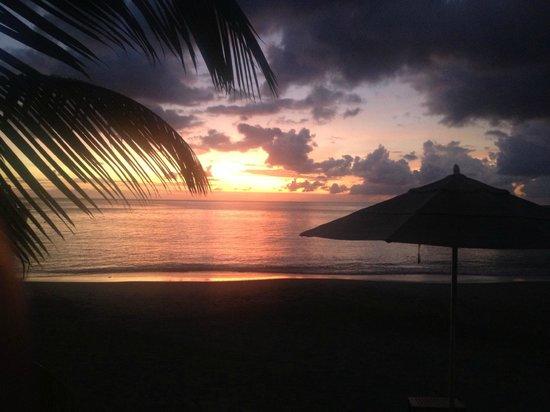 Sunset on the beach at resort