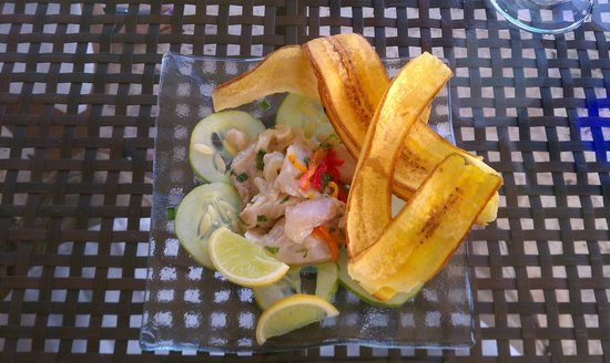 Jade Mountain Resort: Ceviche accompanied by some savory plantains. Delicious!!!!!