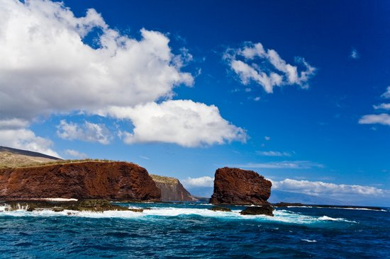 Lanai, HI: View of Puu Pehe from the ocean