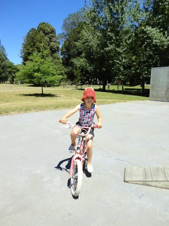 Quinney's Bush Camp: Biking at the skate park