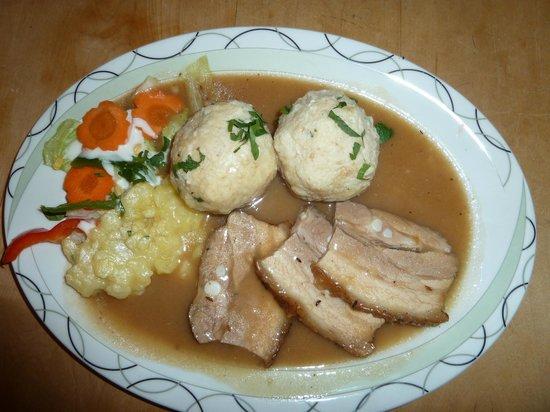 Ennstaler Stubn: Our tasty entree - I believe pork loin with potato dumping