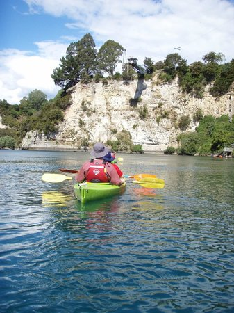 Canoe & Kayak Taupo Tours: Limestone cliffs under the Bungy on the Waikato River