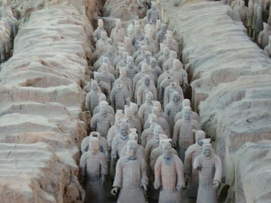 The Museum of Qin Terra-cotta Warriors and Horses: A row of statutes exposed after thousands of years