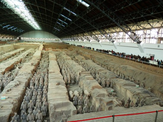 The Museum of Qin Terra-cotta Warriors and Horses: Long view of the rows of warriors