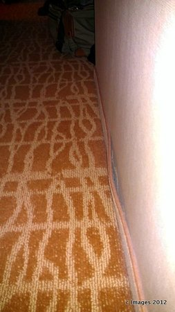 Marriott Tulsa Hotel Southern Hills: carpeted kick plate peeling from wall