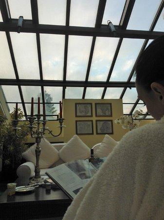 Il Salviatino: гостиная зона нашего номера со стеклянной крышей