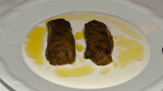 Dimitris & Grigoris : Staffed vine leaves in yoghurt and virgin olive oil.