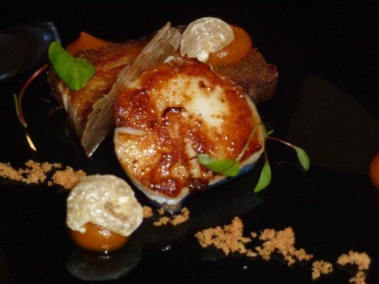 Lumiere: Pork Belly, scallop and Cumin crisp