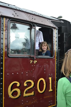 The Shakespeare Express: My daughter on the steam engine before we departed.