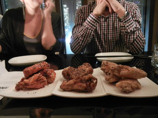 Anju Restaurant : korean fried chicken wings: gochujang, teriyaki, salt & sezchwan pepper