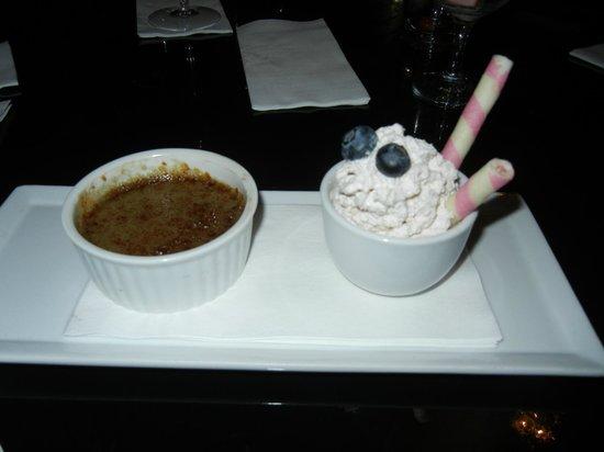 Anju Restaurant : black sesame crème brulée w/ chantilly cream