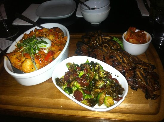Anju Restaurant : (l-r) kimchi jambalaya, brussel sprouts with sweet pork belly, braised silver sage beef short ri