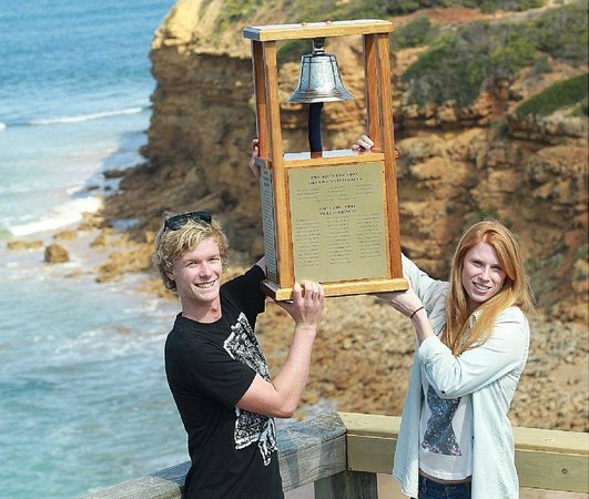 Torquay Surfing Academy: Coach Amy Stewart holding the Bell pre contest!