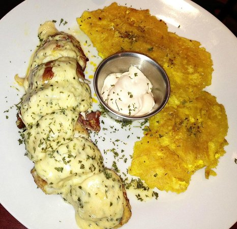 Dieguito And Markitos: Stuffed chicken wrapped in bacon with chorizo, mozzarella and cheese/garlic/wine sauce