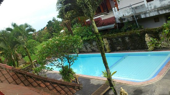 Sri Bungalows: View of the pool from the balcony.