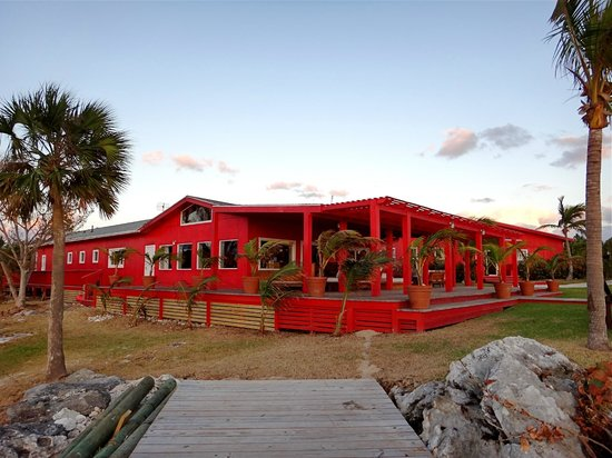 Abaco Lodge: Main Lodge/dining area, bar, and fly shop