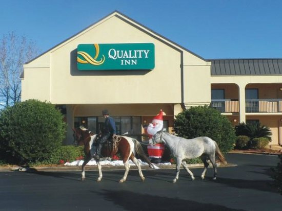 Quality Inn: Our rather non-traditional arrival: (horses stabled elsewhere)