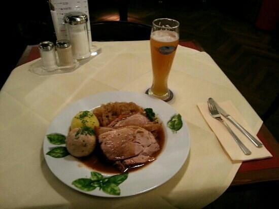 Käfer Bistro T2 am Flughafen: Typically Bavarian - pork roast, sauerkraut and dumplings, with wheat beer.