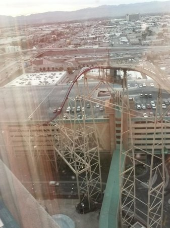 New York - New York Hotel and Casino: Roller coaster out window!! View of parking lot!