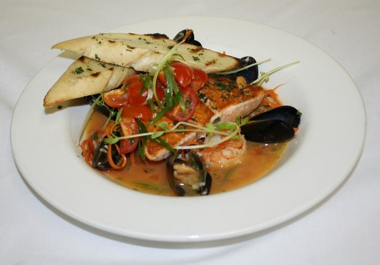 Tumbleweeds Grill: Seared Salmon Atop A Halibut Stock & Tomato Bouilloibase With Shrimp & Mussels & A Tomato Salsa