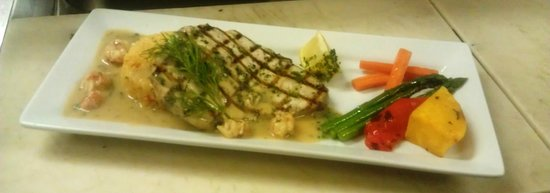 Tumbleweeds Grill: Grilled Swordfish, Thai Curry Rice Cake, Langostines In A Lemon Cream Lobster Jus