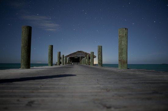 Small Hope Bay Lodge : Starry night on our dock . . .