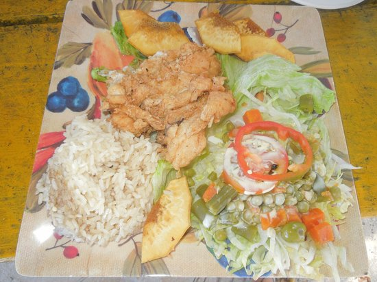Bibi's Place: Pollo Frito served with Bread Fruit and Coconut Rice and Salad