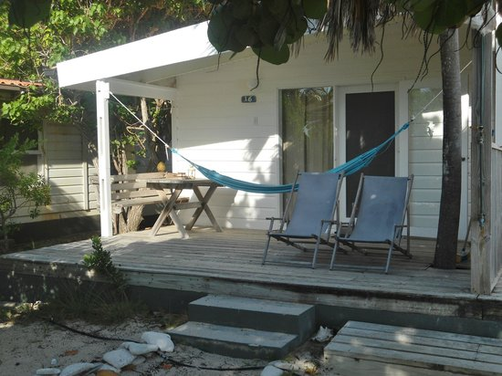 Sorobon Beach Resort: My deck with chairs & hammock