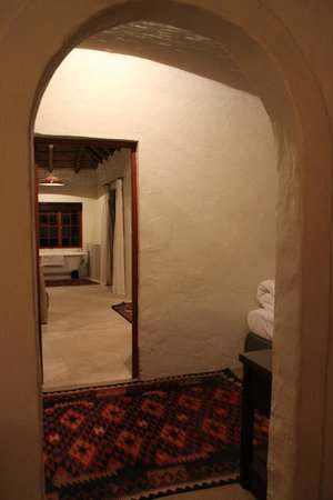 The Elephant House: Looking from bedroom to bathroom