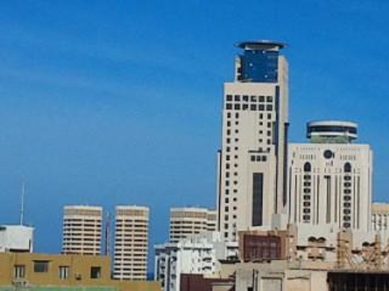 Plasma Hotel Tripoli: from the open cafe at the roof