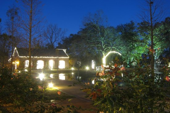 Nottoway Plantation Resort: Night view from pond cottages in December.