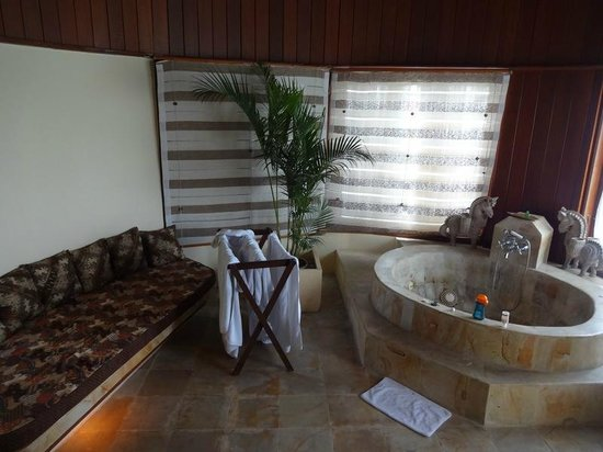 Dewani Villa: The built-in spa and jacuzzi bath for the suite