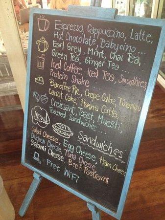 A Spoonful of Sugar: menu at the front door