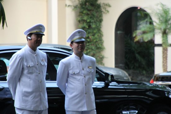 Mandarin Oriental, Bangkok : Chauffers. The hotel always has immaculately dressed drivers just waiting to take you anywhere.