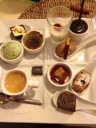 Olatua : que du maison!!!financier,glace et creme brûlée pistache,panacota ,mousse chocolat,brownie,creme