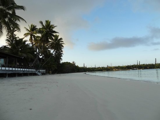 Hotel Kou-Bugny: restaurant de l'hôtel sur la plage de Kuto, au petit matin