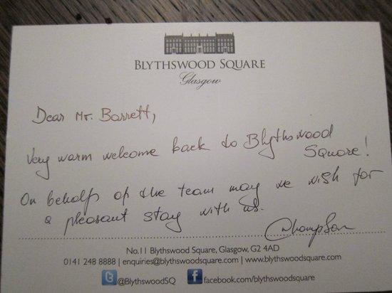 Blythswood Square: Lovely touch