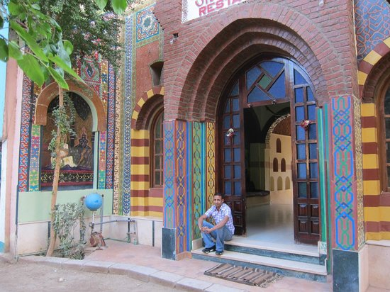 Hand painted entrance to Hotel Sheherazade