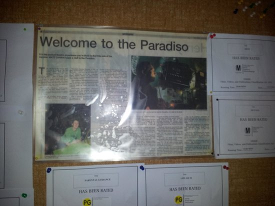 Paradiso Cinema: from the notice board outside the theatre