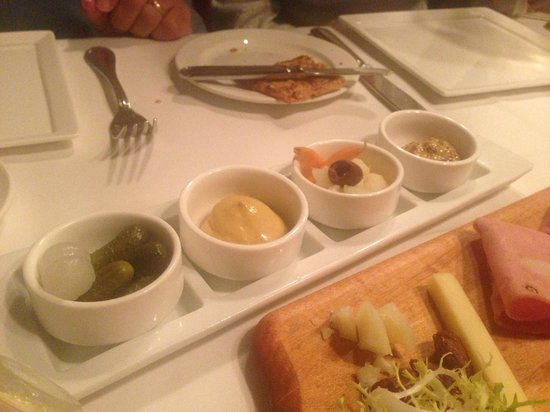 Cafe Ponte: The mustards/pickles/onions for charcuterie