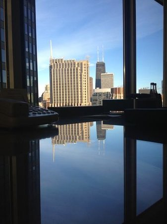 Swissotel Chicago: View from desk in King Suite.