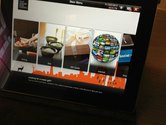 Four Seasons Hotel Toronto : each room has an iPad that gives you access to everything in the hotel