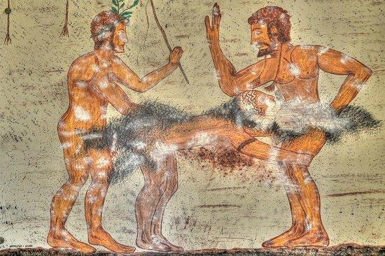 B&B Qui dormi l'Etrusco: Camera dell'eros: particolare di affresco etrusco