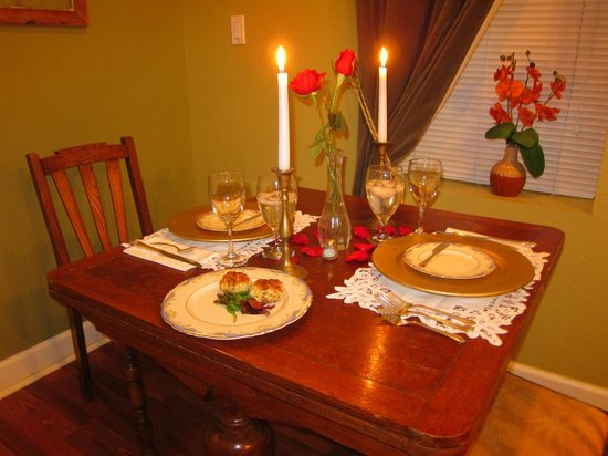 Downtown Historic Bed & Breakfasts of Albuquerque: Dining Table set for In-Room Dinner